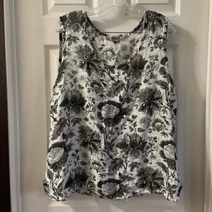 FLAX Black/White Floral Scoop Neck Sleeveless Top